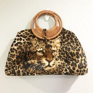 Handbags - Cheetah Print Embellished Wood Handle Bag